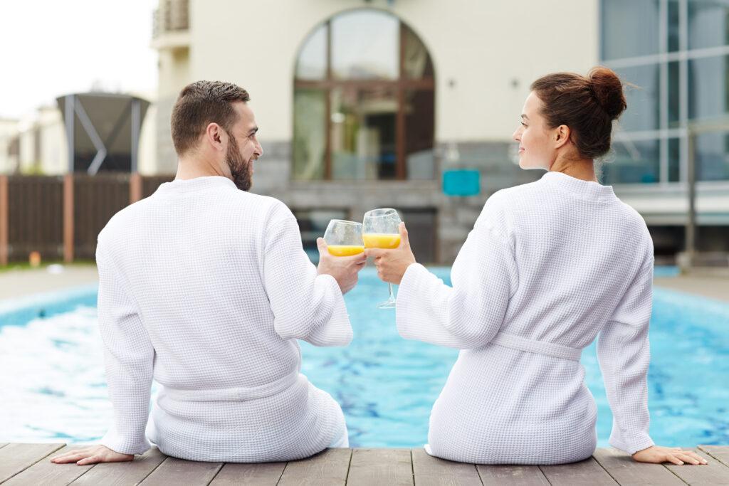 Married couple relaxing on an honeymoon resort