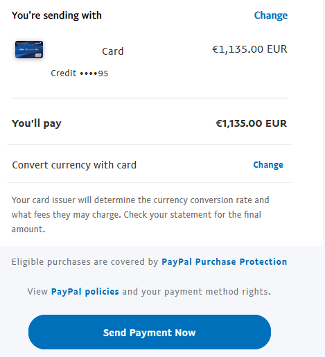 Send EURO PayPal payment