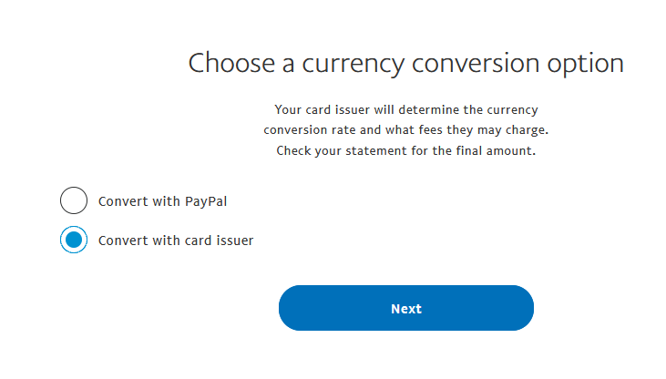Select bank issuer conversion rate for PayPal transfer