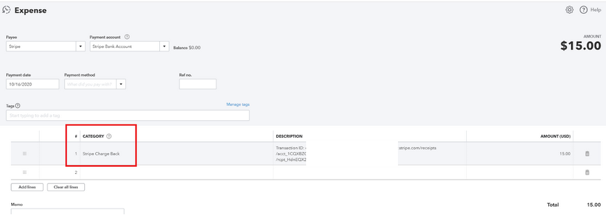 Stripe and Quickbooks easy Integration chargeback