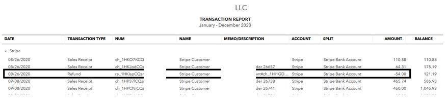 Stripe and Quickbooks easy Integration transaction-report